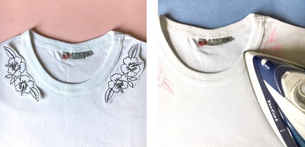 diy broderie frise hibiscus sur un col de tee shirt. Black Bedroom Furniture Sets. Home Design Ideas