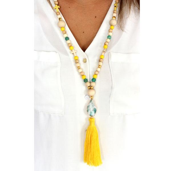 diy collier tibetain perles en bois cracked agate et pompon perles co. Black Bedroom Furniture Sets. Home Design Ideas