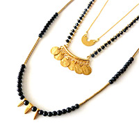 Collier 3 rangs noir et or