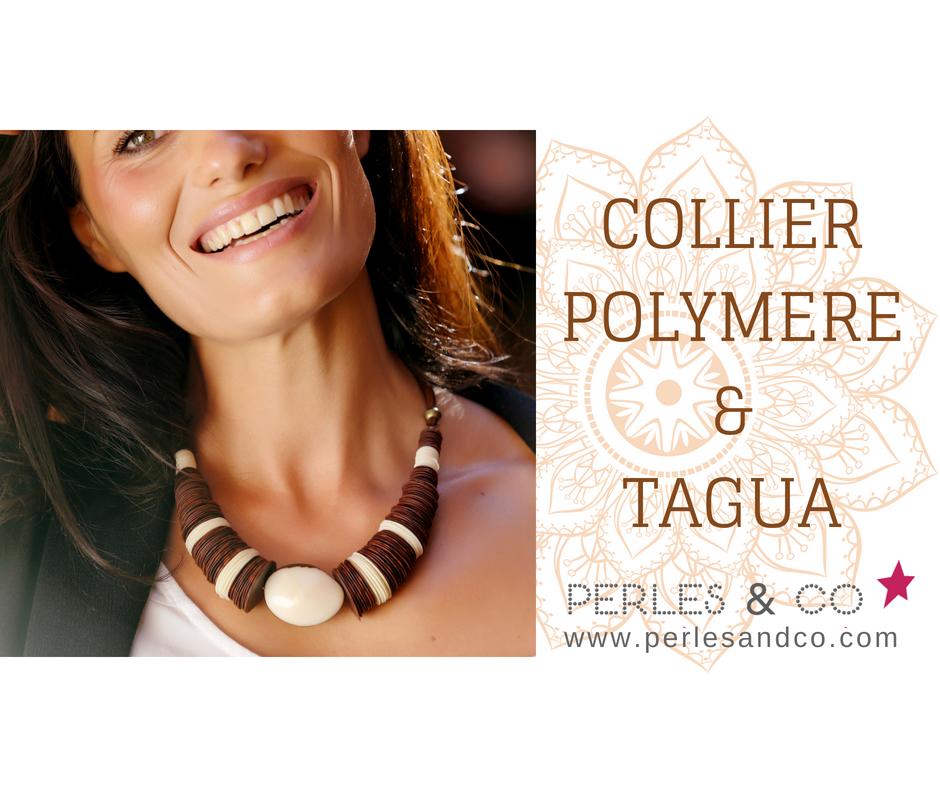 le plus fiable sortie d'usine Prix 50% Collier lamelle en pâte polymère CERNIT et en graines Tagua ...