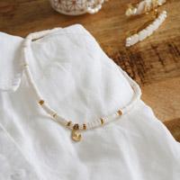 30eb58e32949 Diy collar de perlas Rondelles Heishi blanco y oro y oro colgante plateado