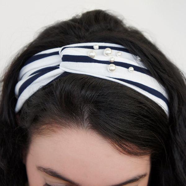 nouveau style Los Angeles comment chercher Bandeau cheveux marinière jersey et perles nacrées swarovski ...