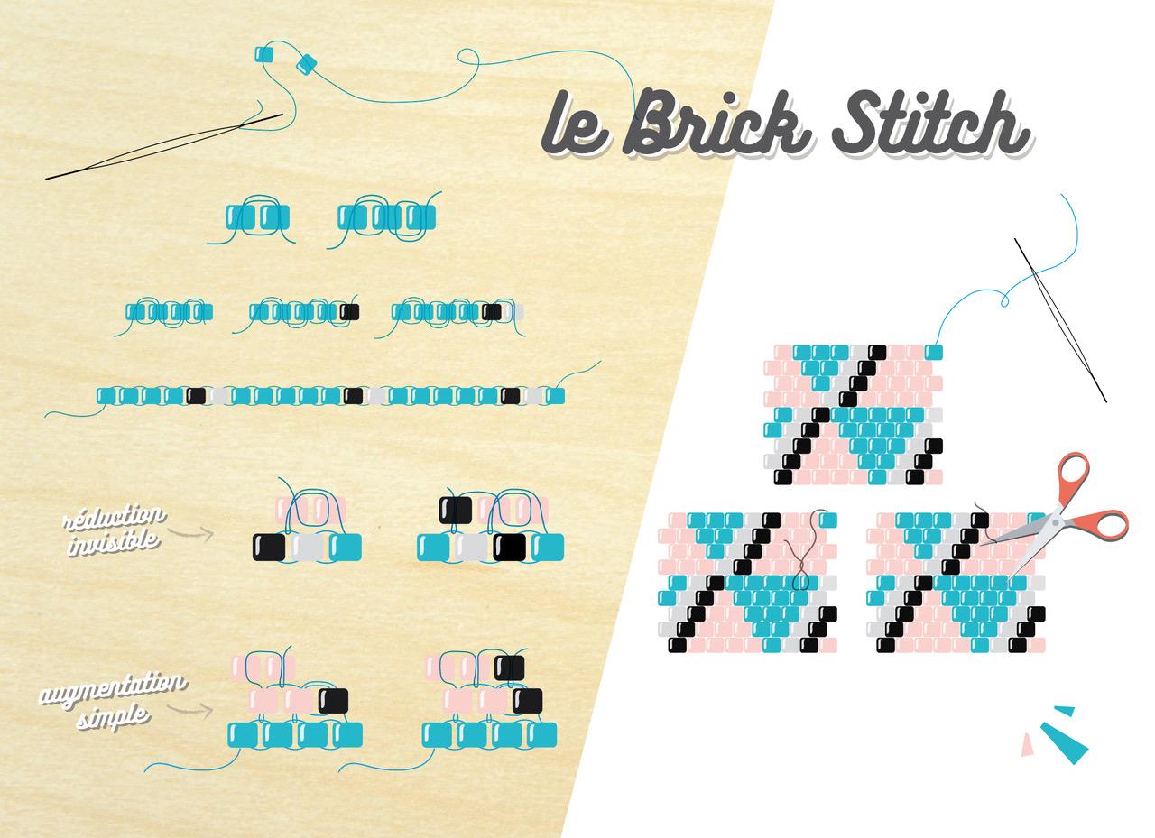 sautoir tissage brick stitch turquoise et rose clair avec motif g perles co. Black Bedroom Furniture Sets. Home Design Ideas