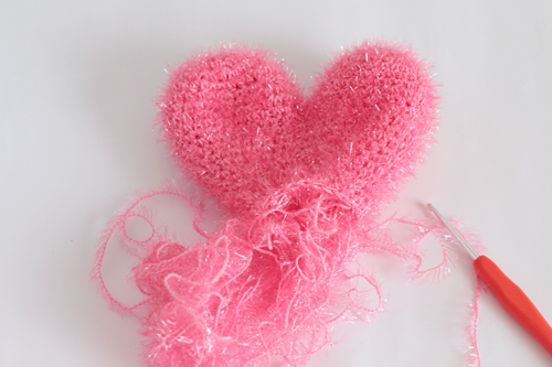DIY crochet coeur eponge tawashi en fil Creative Bubble Rico Design rose