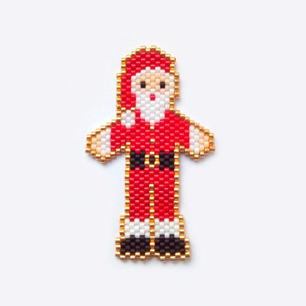 Motif Pere Noel En Tissage Brick Stitch Avec Des Perles Miyuki