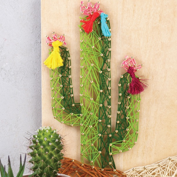 diy d co tableau cactus en string art perles co. Black Bedroom Furniture Sets. Home Design Ideas