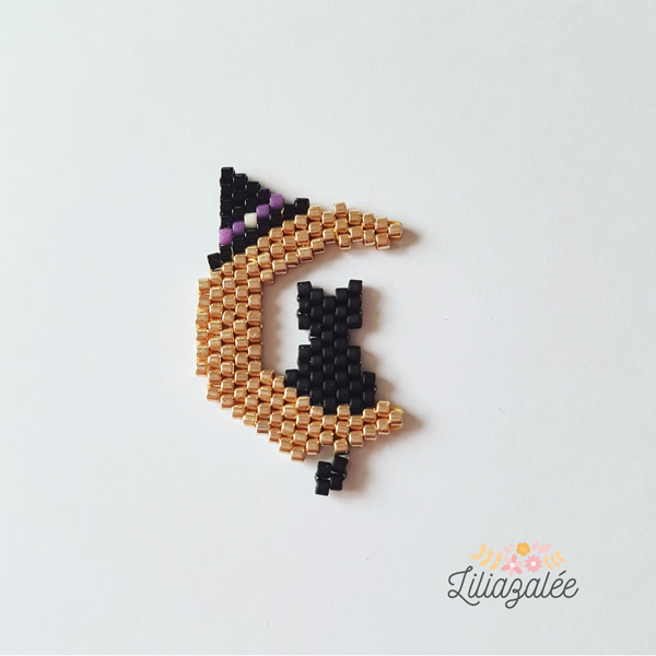 Chat Noir Sur Croissant De Lune Tissage Brick Stitch En Perles
