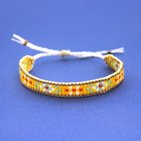 Bracelet Tisse Miyuki Avec Nœud Coulissant Perles Co