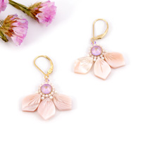 eed89f711 DIY Boucles d'oreilles Fleurs en Nacre perles Miyuki et Swarovski