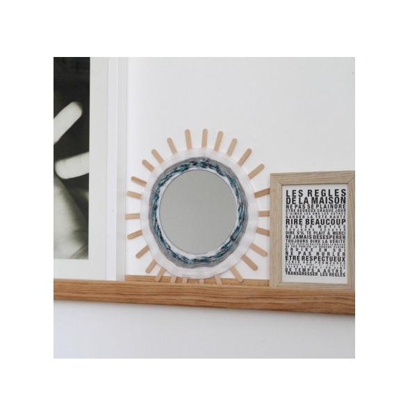 Diy d co miroir rond tiss avec de la laine perles co for Deco miroir rond