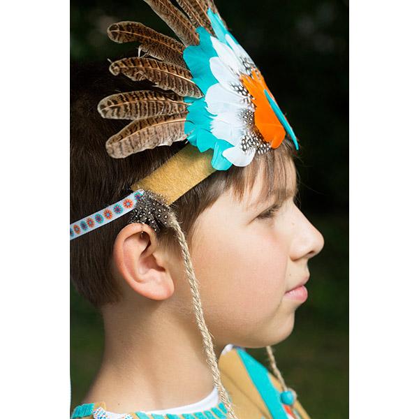 id e d guisement de carnaval coiffe d 39 indien avec des plumes et de perles co. Black Bedroom Furniture Sets. Home Design Ideas