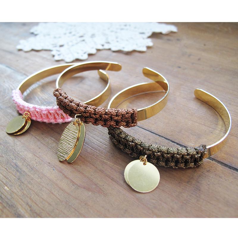 Turbo Trio de bracelets joncs breloques tissés en macramé - Perles & Co XE16