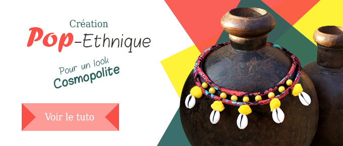 Collier double Ethnique coquillages et pompons