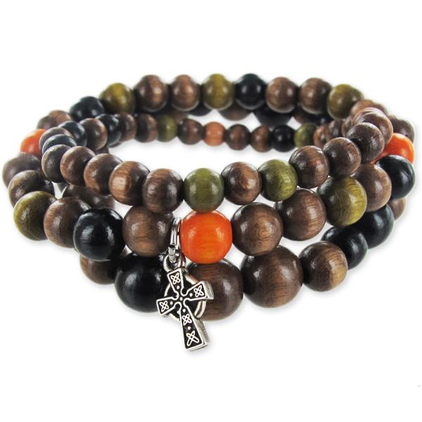 Bracelets en bois fil lastique et perles rondes en bois perles co - Fil elastique pour bracelet ...