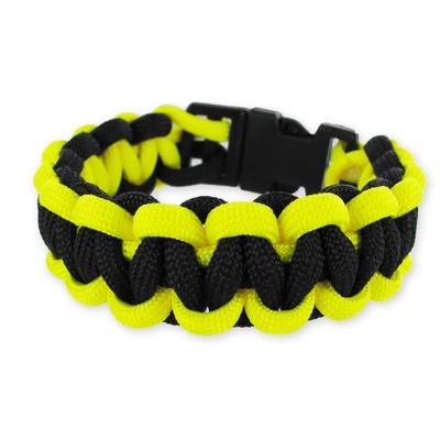 Bracelet jaune et noir Parachute Cord et Fermoir à clipser