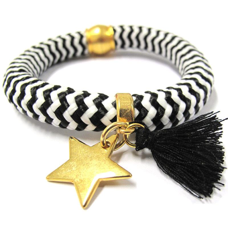 Bracciale corda intrecciata Nero/Bianco Stella