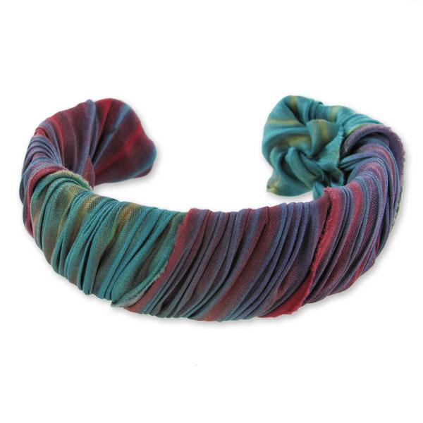 Bracelet ruban de soie shibori katrina et bracelet en laiton perles co - Bracelet perle et ruban ...