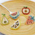 Assortment of Pin's fruit slices in Miyuki pearl weaving
