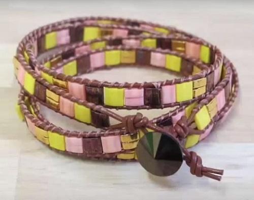 TUTORIEL 5  Bracelet Wrap Fluo Nacrées Swarovski et Tête de mort