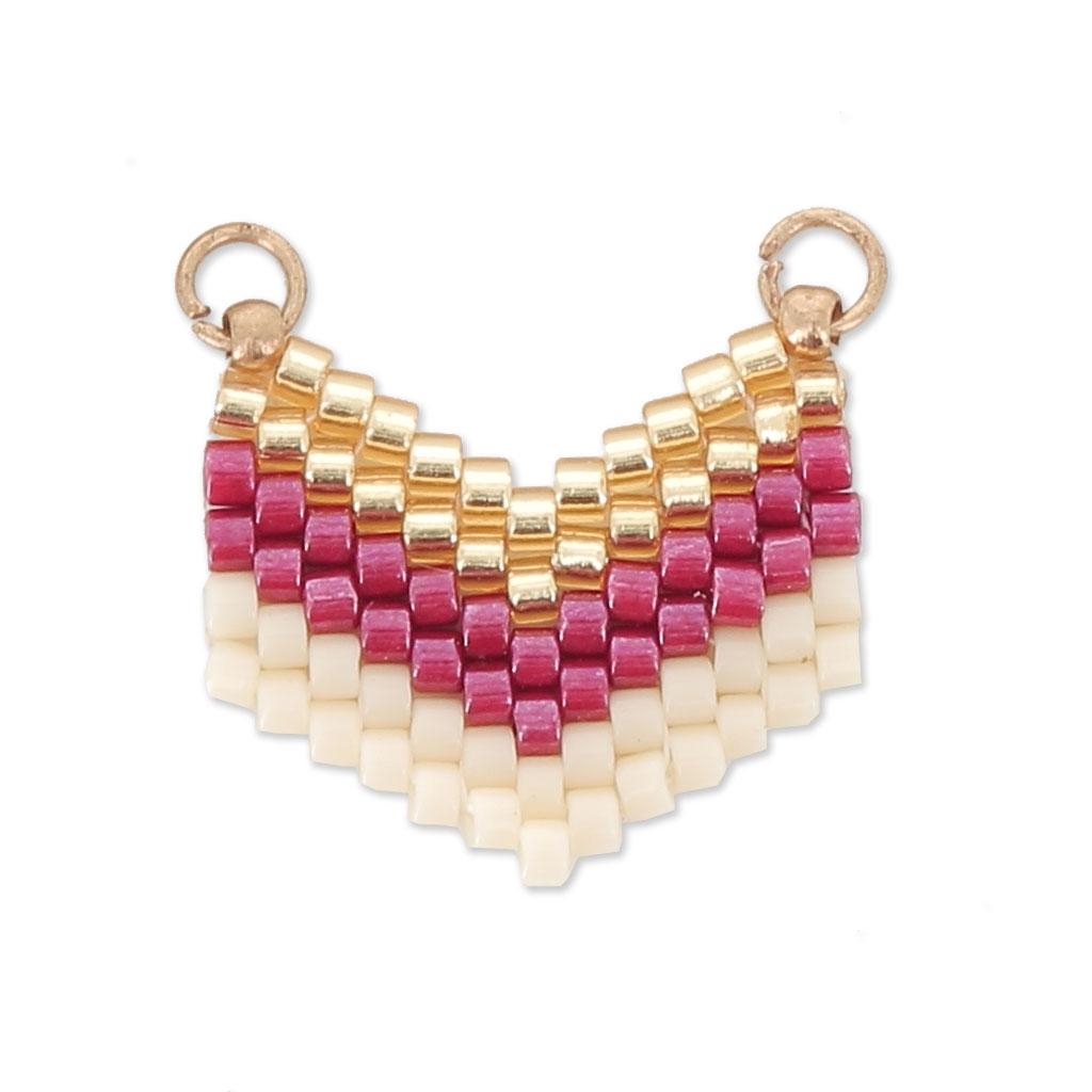 acheter maintenant couleurs harmonieuses choisir authentique Intercalaire pour collier tissé en Miyuki 2 anneaux 18x17 mm  Doré/Rouge/Crème