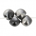 Perles en verre Mushroom beads  6 mm Jet Chrome x50