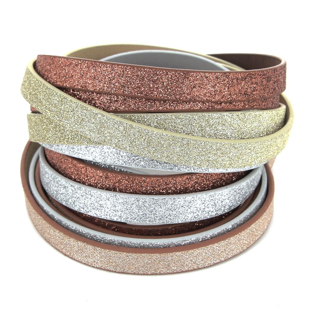 17e2996bf9d ... Ruban fantaisie pailleté imitation cuir 10 mm Silver Glitter x1.2m ...