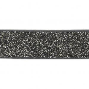 8fae678e1ff Ruban fantaisie pailleté imitation cuir 10 mm Black Glitter x1.2m ...
