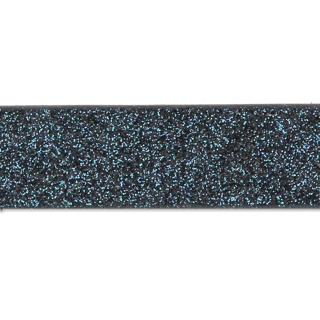 b3ff10d8338 Ruban fantaisie pailleté imitation cuir 10 mm Blue Black Glitter x1.2m ...