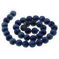 Perle ronde Druzy Agate 12 mm Dark Blue x1