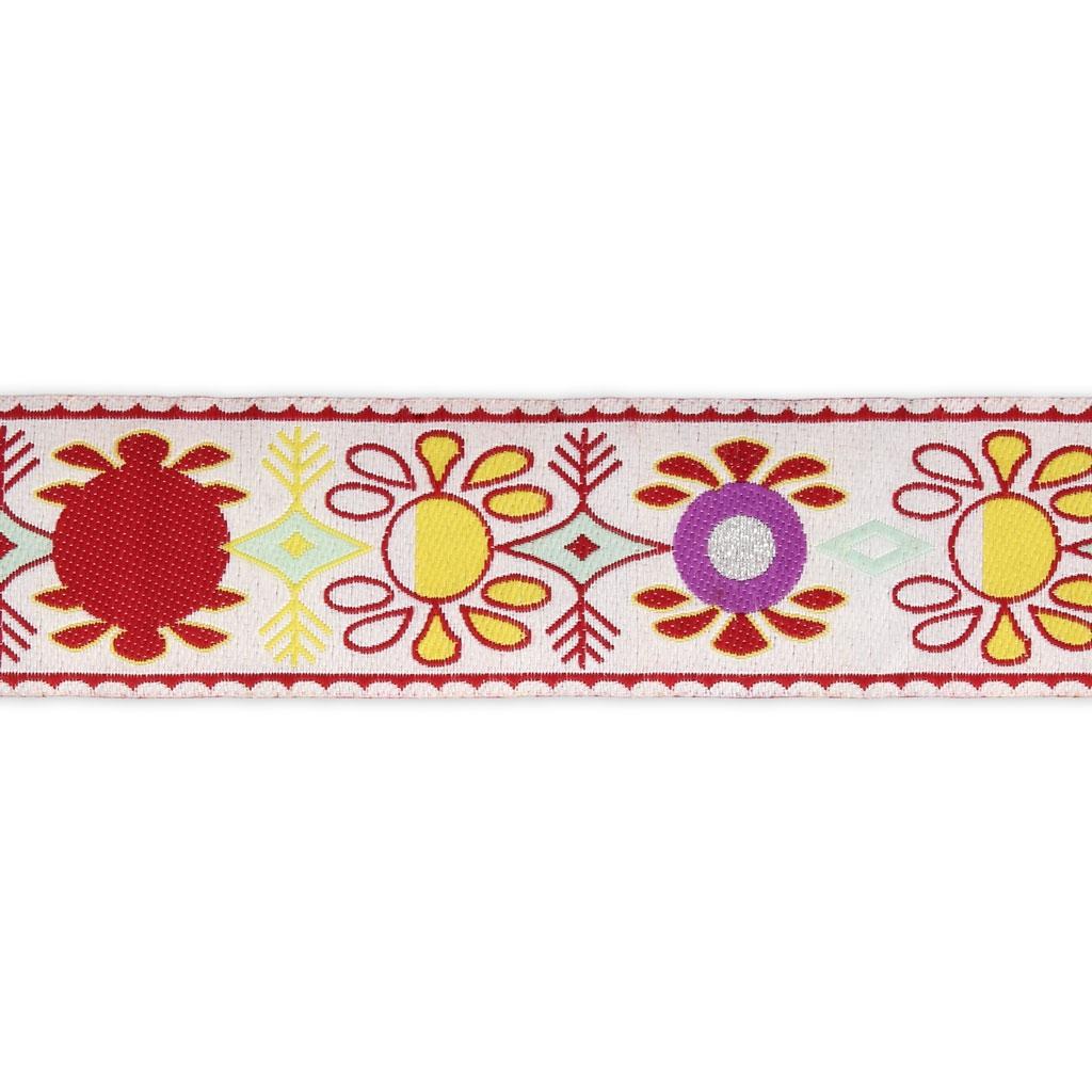 galon fantaisie graphique motif fleur r tro 37 mm blanc. Black Bedroom Furniture Sets. Home Design Ideas