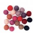 Assortiment de perles / boules en laine feutrée 15 mm Mix Rouge x20