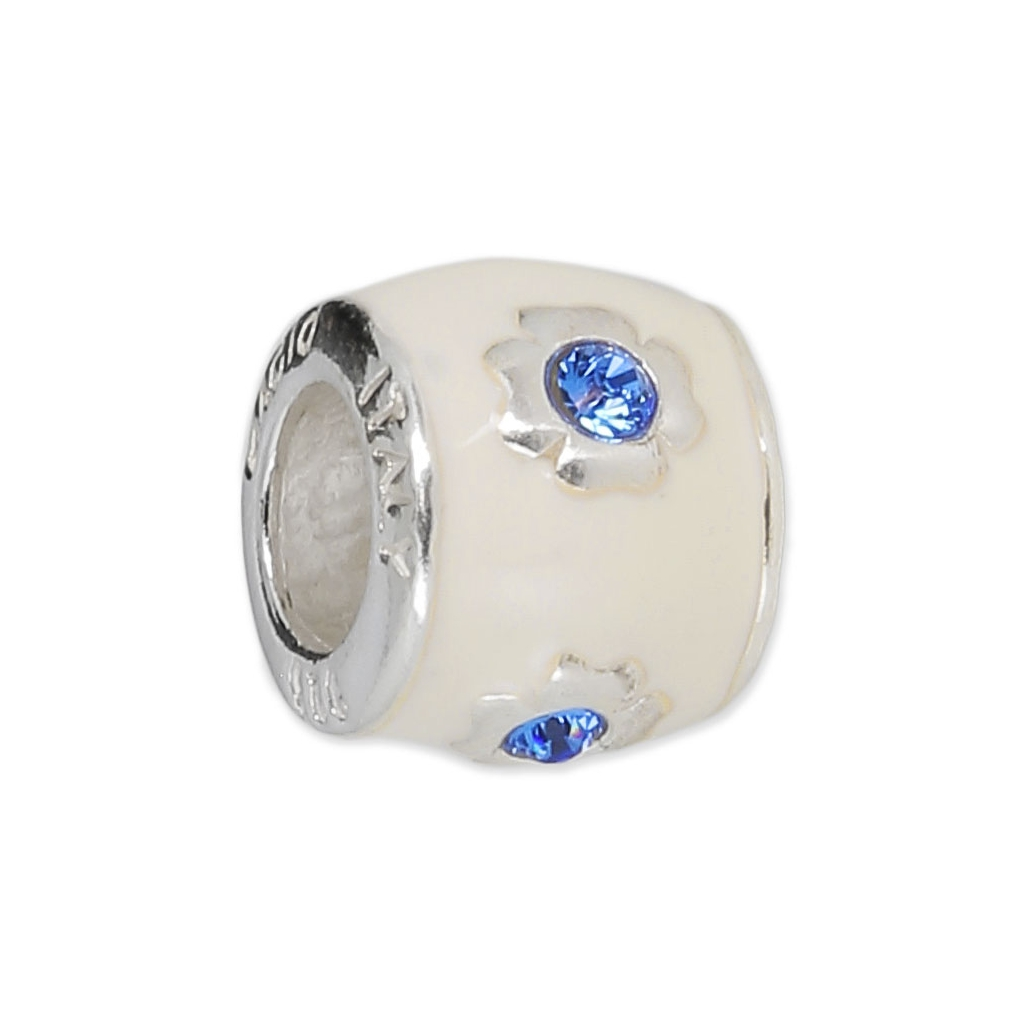 perle charm gros trou r sine poxy argent 925 flower blanc ble perles co. Black Bedroom Furniture Sets. Home Design Ideas