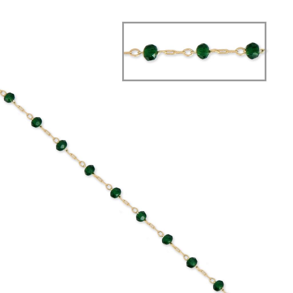 5183612e4f8 Chaîne avec perles facettées en verre 2.95 mm Doré satiné Emerald x1m ...