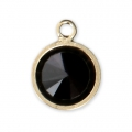 Pendentif 8.5x6.5 mm Jet/Gold filled 14 carats x1