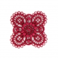 Ecusson Thermocollant brodé Fleur 30x30 mm Rouge x1