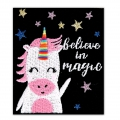 Ecusson Thermocollant - Message 60x50 mm Believe in magic- licorne x1