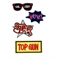 4 écussons thermocollants brodés - Lunettes/Star/Wow/Top Gun x1