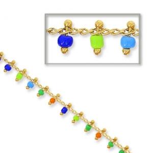 énorme réduction b4bce fb25a Chaîne avec perles de rocailles 2 mm Multicolore/doré pour bijoux DIY x 50cm