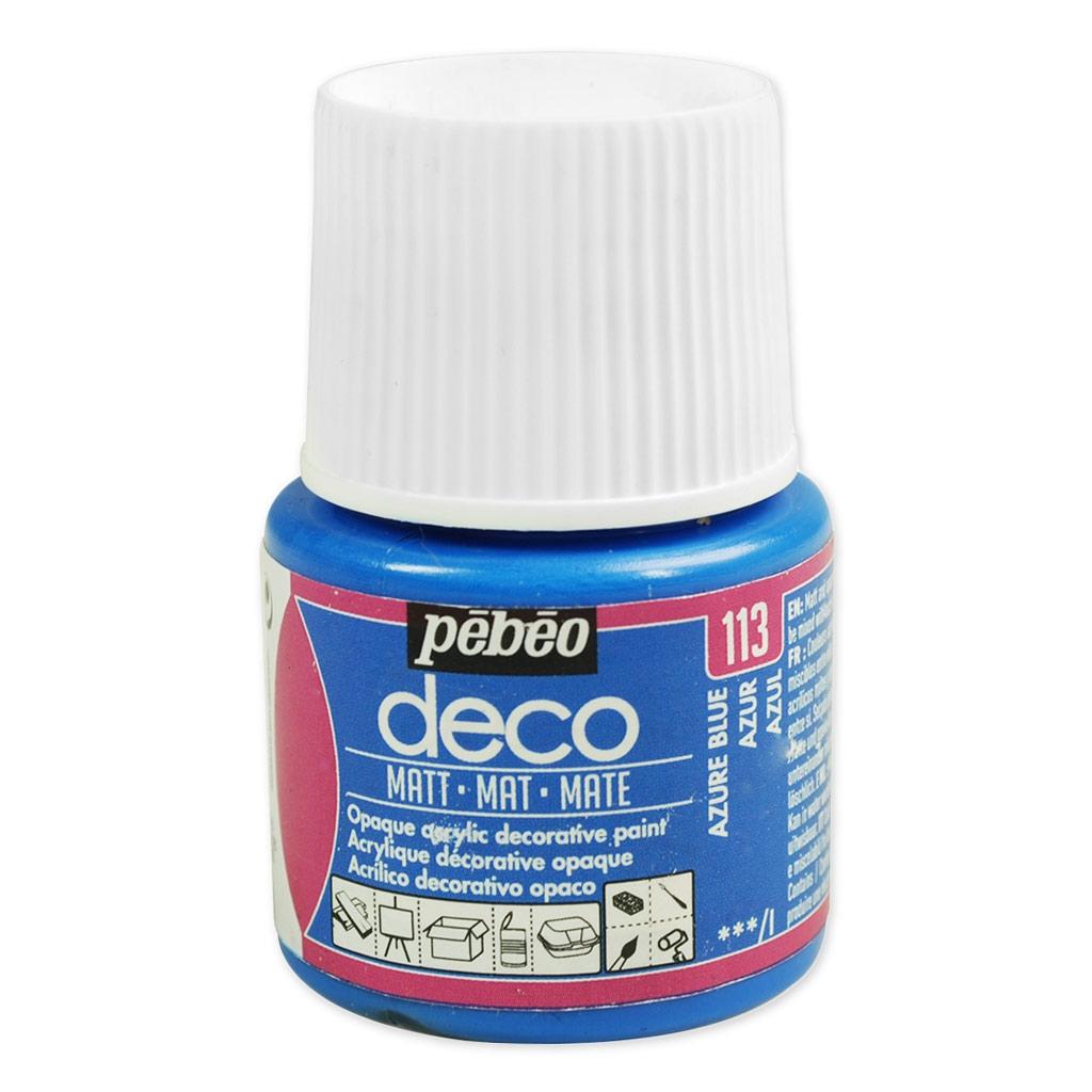 peinture acrylique - deco mat de pébéo - azur n°113 x 45ml - perles & co
