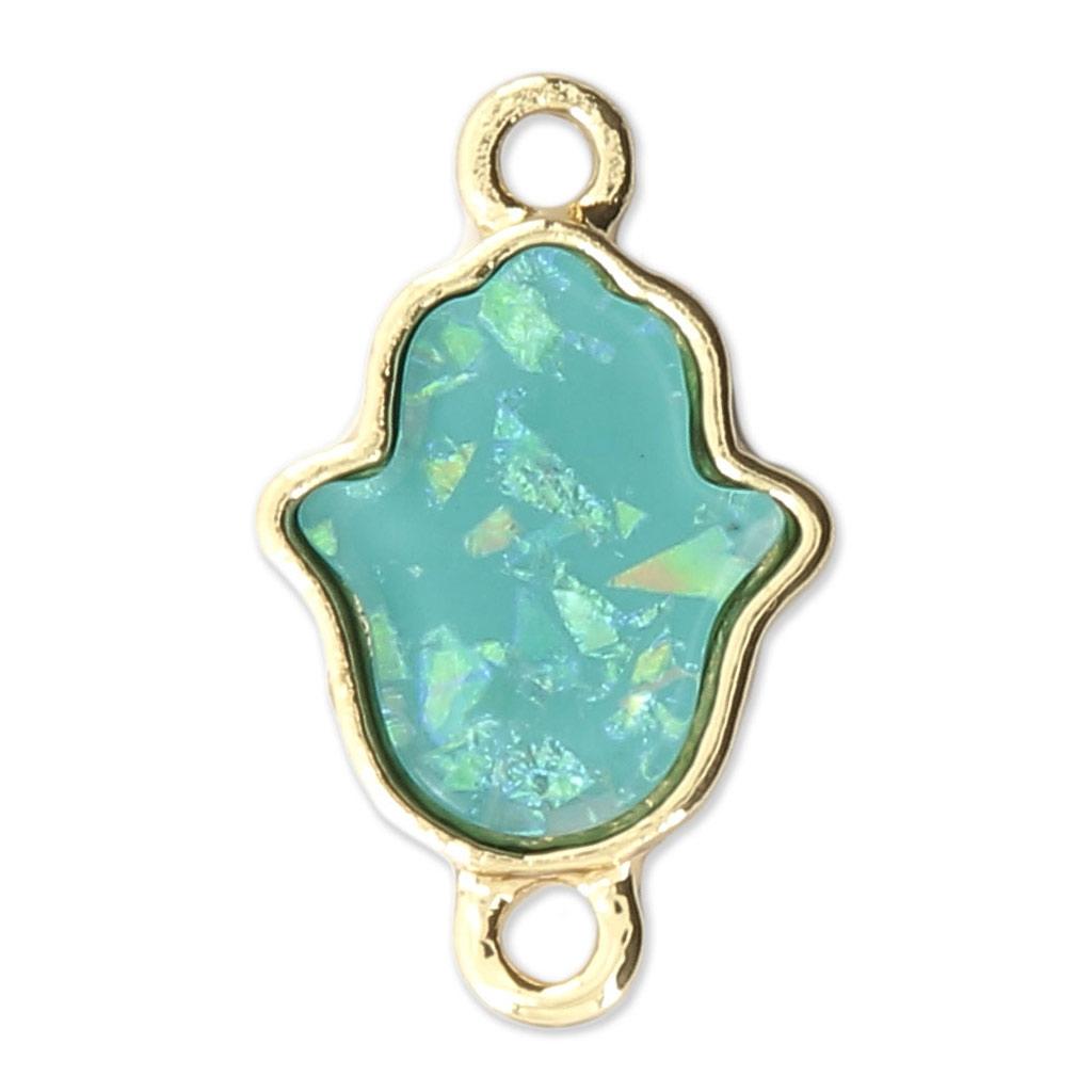 Intercalaire Main De Fatma Metal Et Nacre Artificiel 22x13 Mm Bleu Dore X1 Perles Co