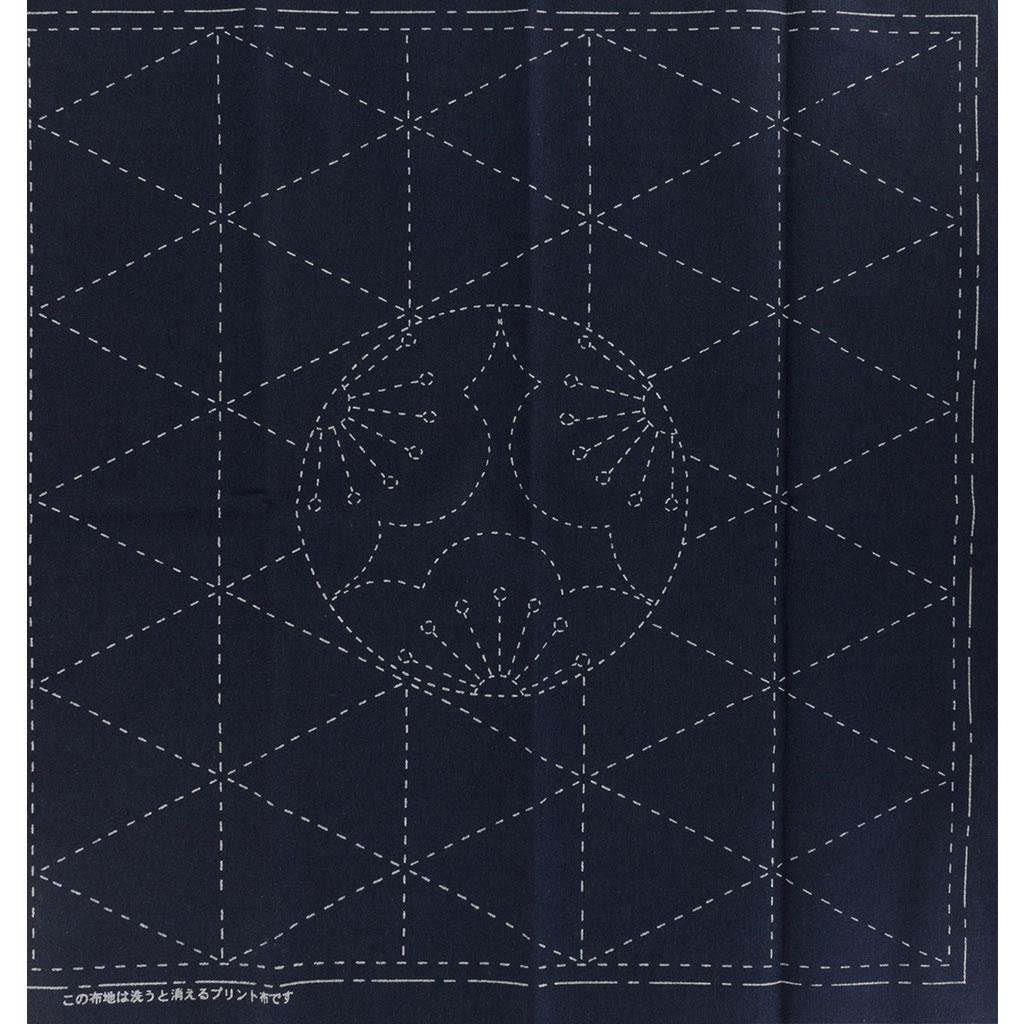 Coupon De Tissu Pour Broderie Sashiko 31x31 Cm Navy Motif De L