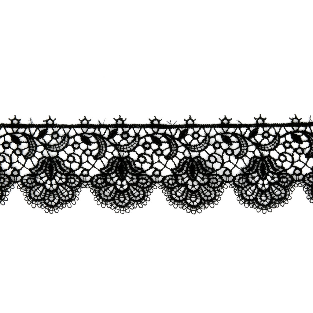 Comment Peindre De La Dentelle ruban tulle dentelle motif fleurs 35 mm noir x50cm