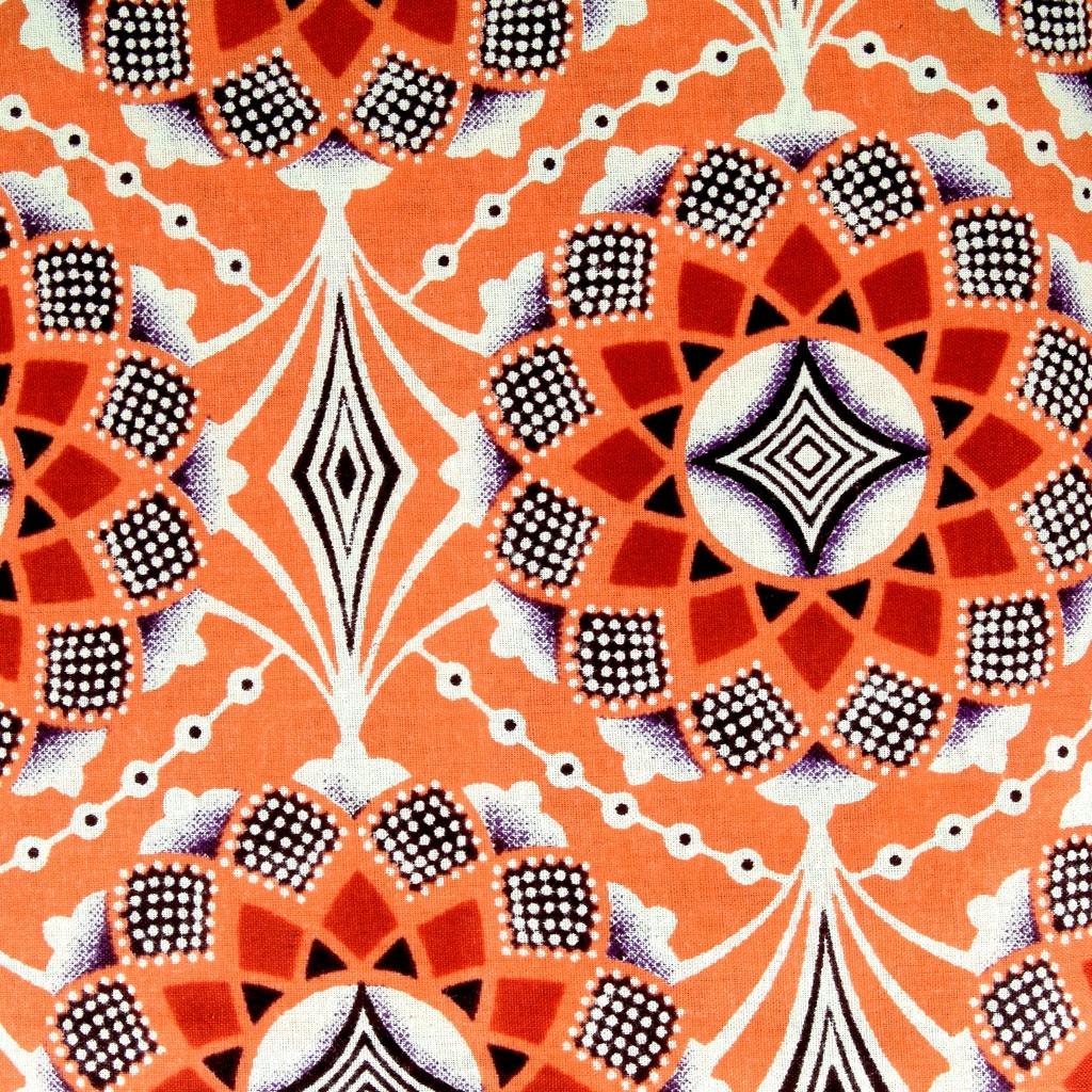 tissu wax rosace orange violet marron x10cm perles co. Black Bedroom Furniture Sets. Home Design Ideas