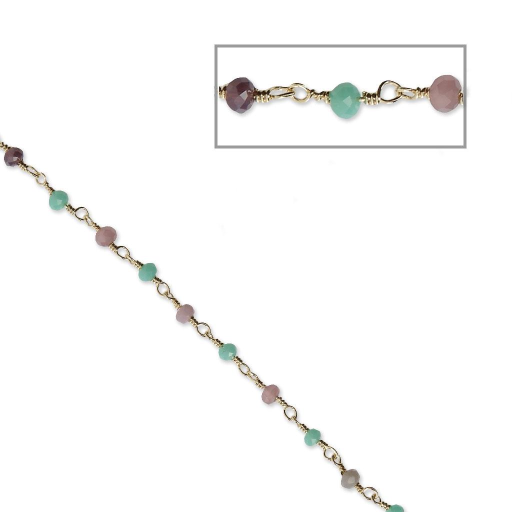 c3e092e0c9a Chaîne avec perles facettées en verre 3.20 mm Doré   Multi Pastel x50cm