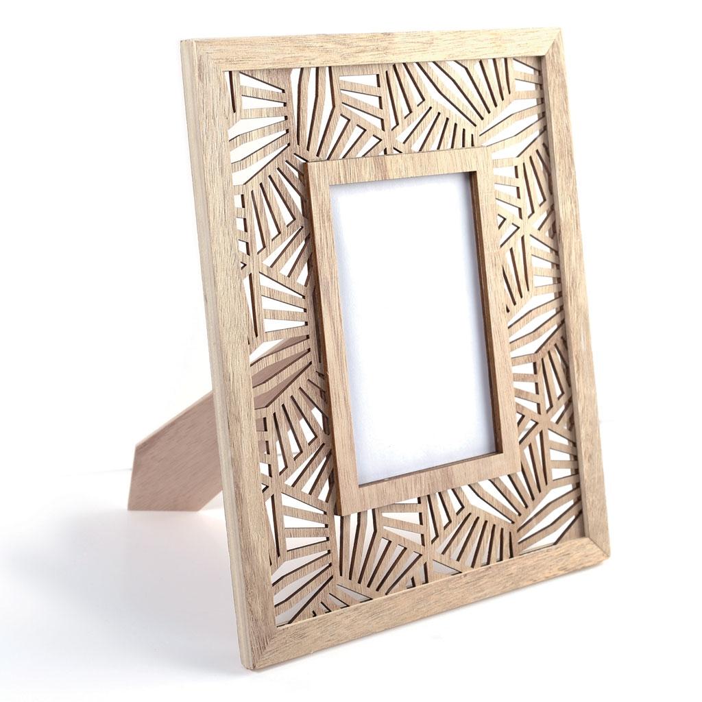 Customiser Un Cadre De Miroir cadre-photo en bois ajouré à décorer soi même 23.5 x 29 cm - motif végétal
