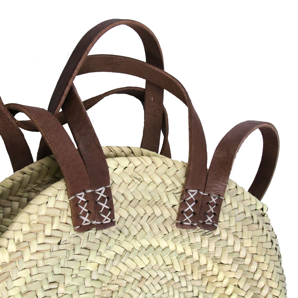 sac rond en paille tress e et cuir 30 cm naturel x1 perles co. Black Bedroom Furniture Sets. Home Design Ideas