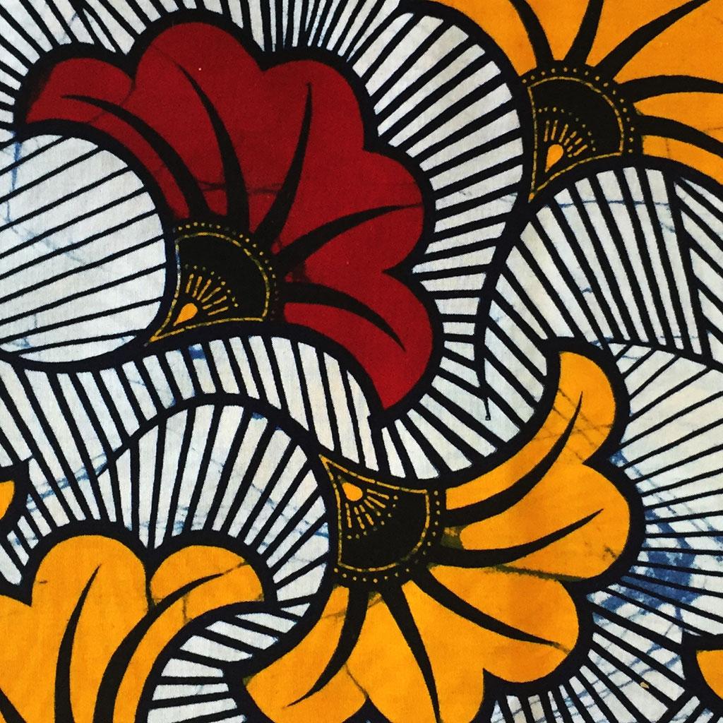 Tissu Wax , Fleurs de mariage , Bordeaux / Orange x10cm