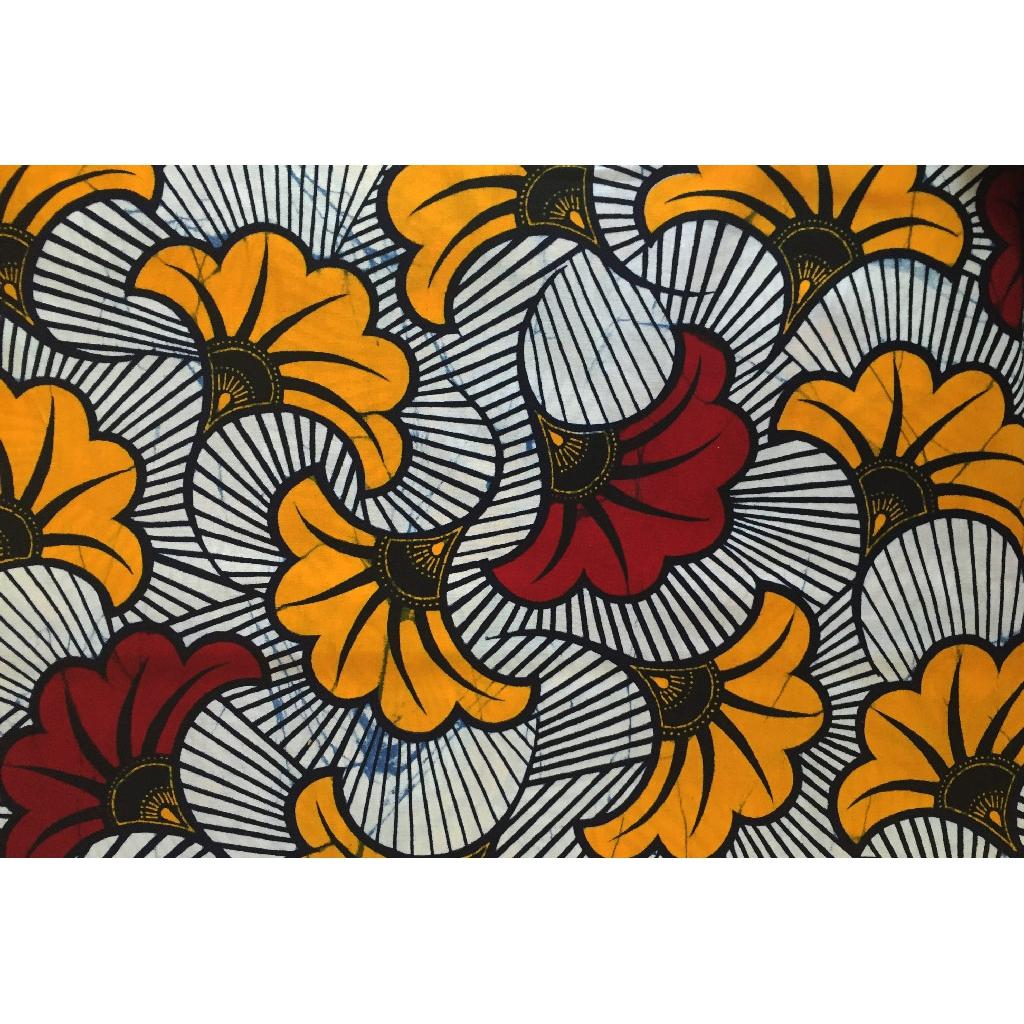 Tissu Wax Fleurs De Mariage Bordeaux Orange X10cm Perles Co