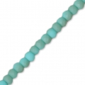 Rondes aplaties facettées 3x2 mm Turquoise Frosted x40cm