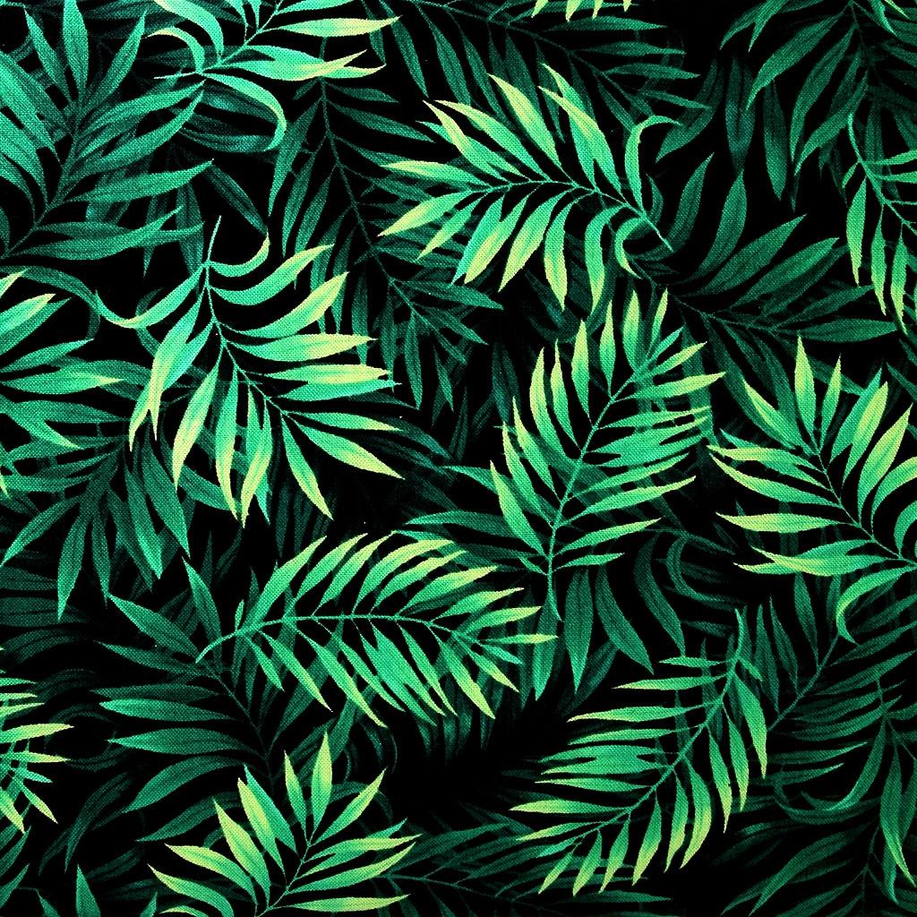 tissu island breeze timeless treasures feuilles de palmier noir x10cm perles co. Black Bedroom Furniture Sets. Home Design Ideas